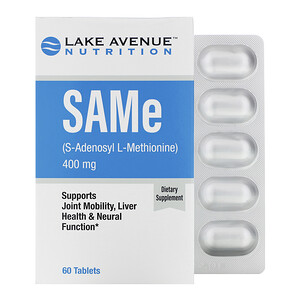 Lake Avenue Nutrition, SAMe (S-Adenosyl L-Methionine), 400 mg, 60 Tablets отзывы покупателей