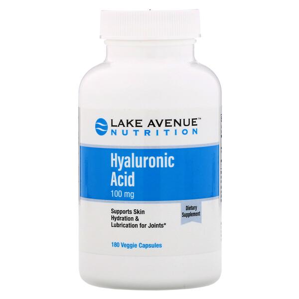 ヒアルロン酸、100mg、植物性カプセル180粒