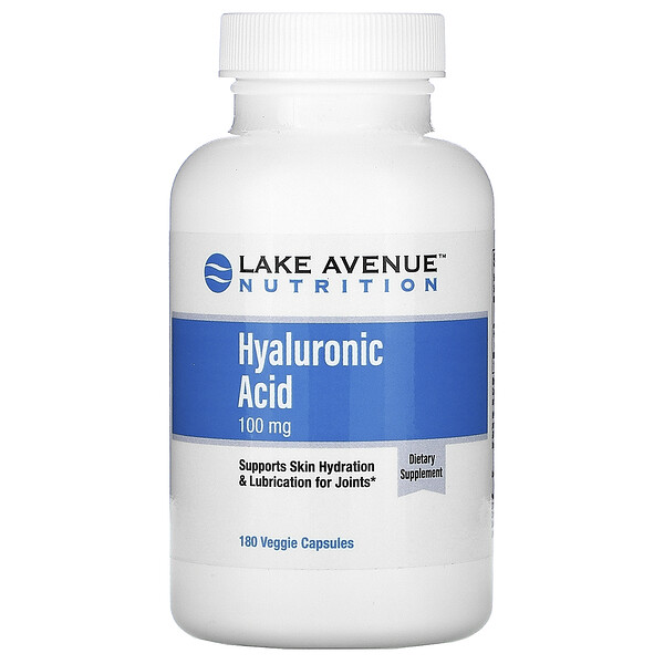 Lake Avenue Nutrition, Acide hyaluronique, 100 mg, 180 capsules végétariennes