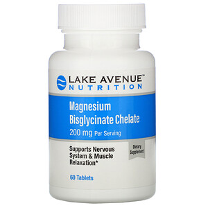 Lake Avenue Nutrition, Magnesium Bisglycinate Chelate, 200 mg, 60 Tablets'