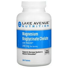 Lake Avenue Nutrition, Magnesium Bisglycinate Chelate with Albion Minerals, 100 mg, 240 Tablets