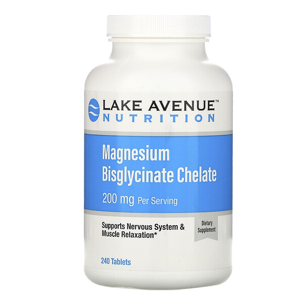 Magnesium Bisglycinate, 200 mg Per Serving, 240 Tablets