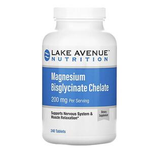 Lake Avenue Nutrition, Magnesium Bisglycinate Chelate, 200 mg, 240 Tablets отзывы покупателей