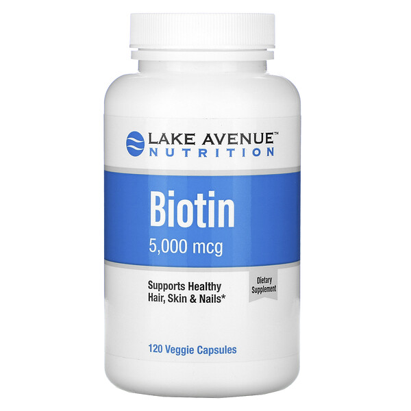 Lake Avenue Nutrition, Biotina, 5000 mcg, 120 cápsulas vegetales