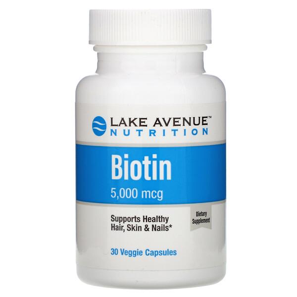 Lake Avenue Nutrition, Biotina, 5000mcg, 30cápsulas vegetarianas