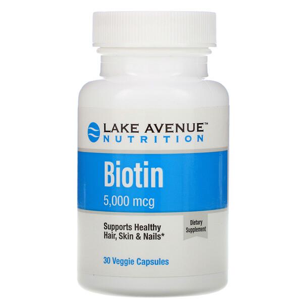 Lake Avenue Nutrition, Biotin, 5,000 mcg, 30 Veggie Capsules