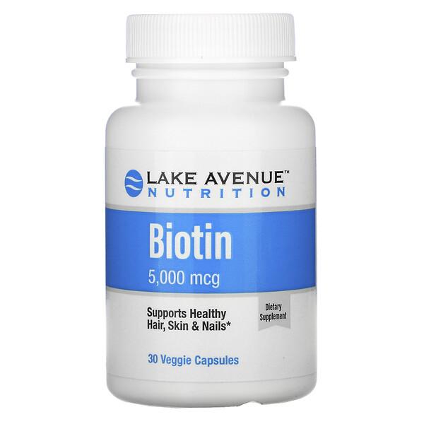 Biotin, 5,000 mcg, 30 Veggie Capsules