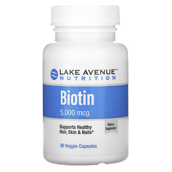 Lake Avenue Nutrition, Biotina, 5000 mcg, 30 cápsulas vegetales