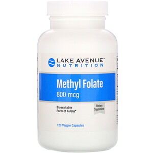 Lake Avenue Nutrition, Methyl Folate, 800 mcg, 120 Veggie Capsules