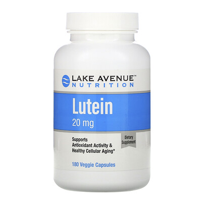 Купить Lake Avenue Nutrition Лютеин, 20 мг, 180 растительных капсул
