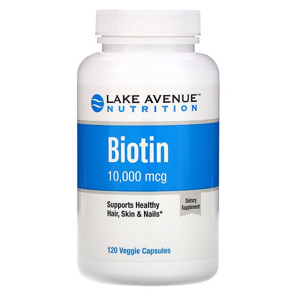ビオチン、10,000mcg、植物性カプセル120粒