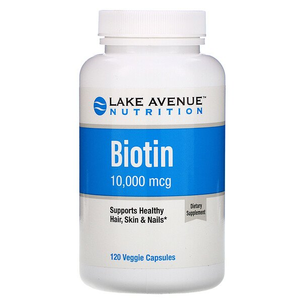 Lake Avenue Nutrition, Biotina, 10.000 mcg, 120 cápsulas vegetales