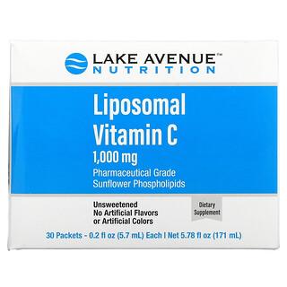 Lake Avenue Nutrition, VitaminaC liposomal, Sin sabor, 1000mg, 30sobres, 5,7ml (0,2oz) cada uno