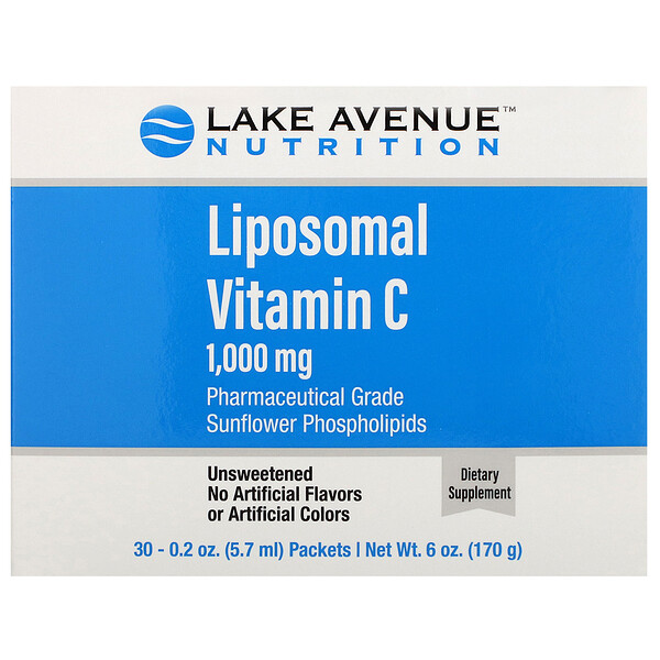 Lake Avenue Nutrition, Liposomal Vitamin C, Unflavored, 1,000 mg, 30 Packets, 0.2 oz (5.7 ml) Each
