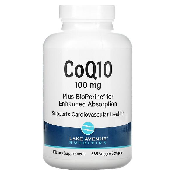 Lake Avenue Nutrition, CoQ10 with BioPerine, CoQ10 mit BioPerine, 100mg, 365pflanzliche Kapseln