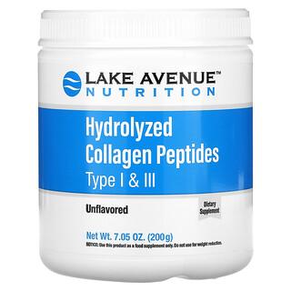 Lake Avenue Nutrition, Hydrolyzed Collagen Peptides, hydrolysierte Kollagenpeptide Typ I und III, geschmacksneutral, 200g (7,05oz.)
