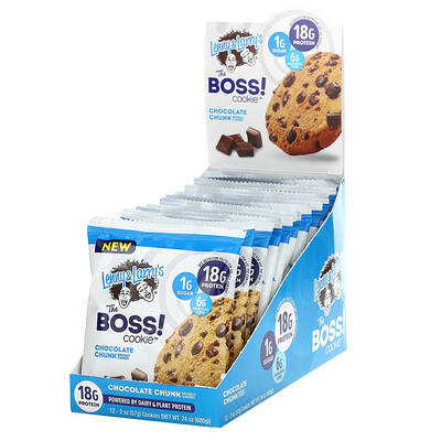Lenny & Larry's The BOSS Cookie, Chocolate Chunk, 12 Cookies, 2 oz (57 g) Each