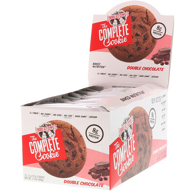 Lenny & Larry's The COMPLETE Cookie, Double Chocolate, 12 Cookies, 2 oz (57 g) Each
