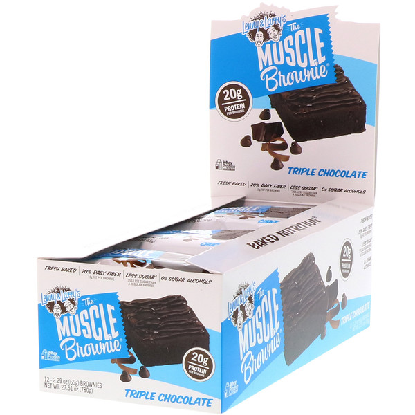 Lenny & Larry's, the MUSCLE Brownie, Triple Chocolate, 12 Brownies, 2.29 oz (65 g) Each (Discontinued Item)
