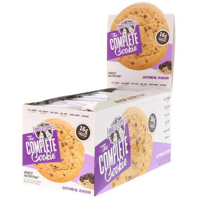 Lenny & Larry's The COMPLETE Cookie, Oatmeal Raisin, 12 Cookies, 4 oz (113 g) Each