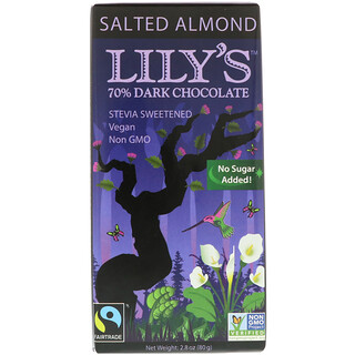 Lily's Sweets, 70% Dark Chocolate Bar, Salted Almond, 2.8 oz (80 g)
