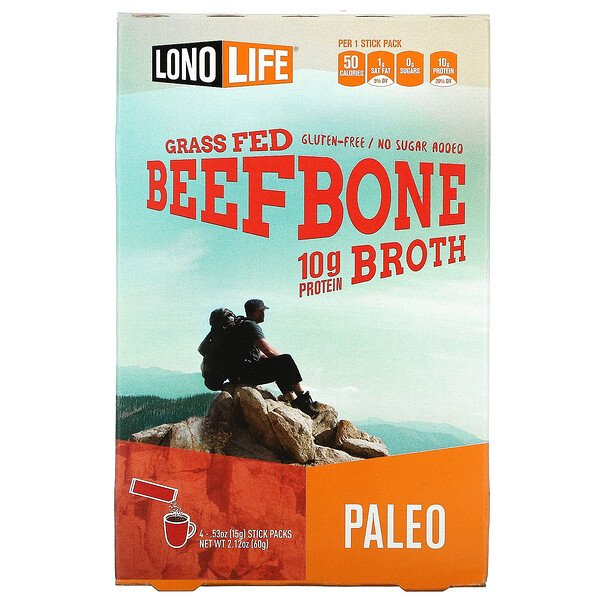 Broth, Beef Bone, Paleo, 4 Stick Packs, .53 oz (15 g) Each