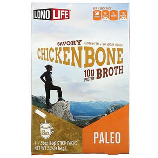 Lonolife, Broth, Chicken Bone, Paleo, 4 Stick Packs, .56 oz (16 g) Each