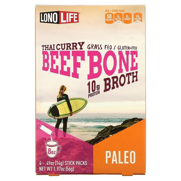 Broth, Beef Bone, Thai Curry, 4 Stick Packs, 0.49 oz (14 g)