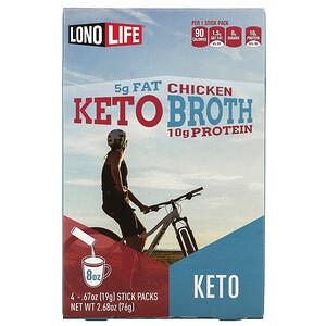 Lonolife, Keto Broth, Chicken, 4 Stick Packs, 0.67 oz (19 g) Each