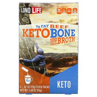 Lonolife, Keto Broth, Beef, 4 Stick Packs, 2.68 oz (76 g)
