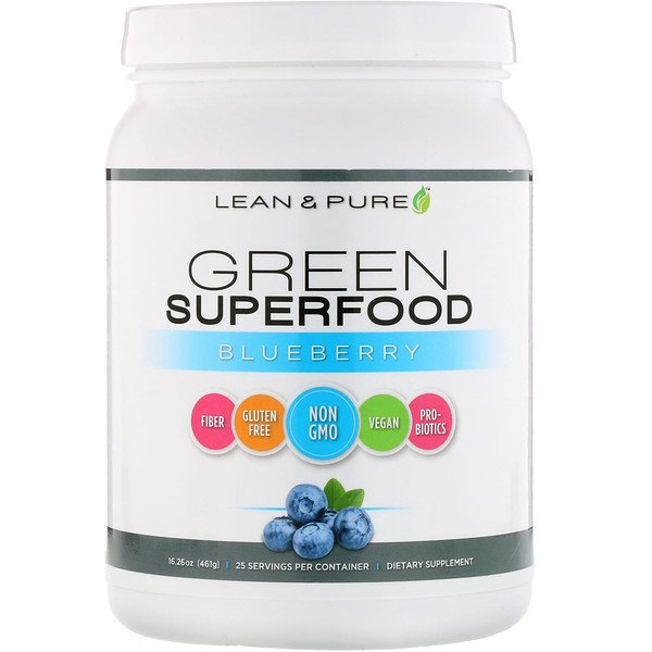 Lean & Pure, Superalimento Verde, Mirtilo, 16,26 oz (461 g)