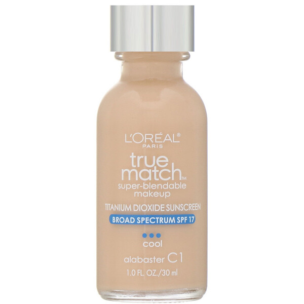L'Oreal, True Match Super-Blendable Makeup, C1 Alabaster, 1 fl oz (30 ml) (Discontinued Item)