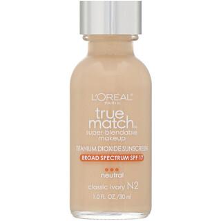 L'Oreal, True Match Super-Blendable Makeup, N2 Classic Ivory, 1 fl oz (30 ml)