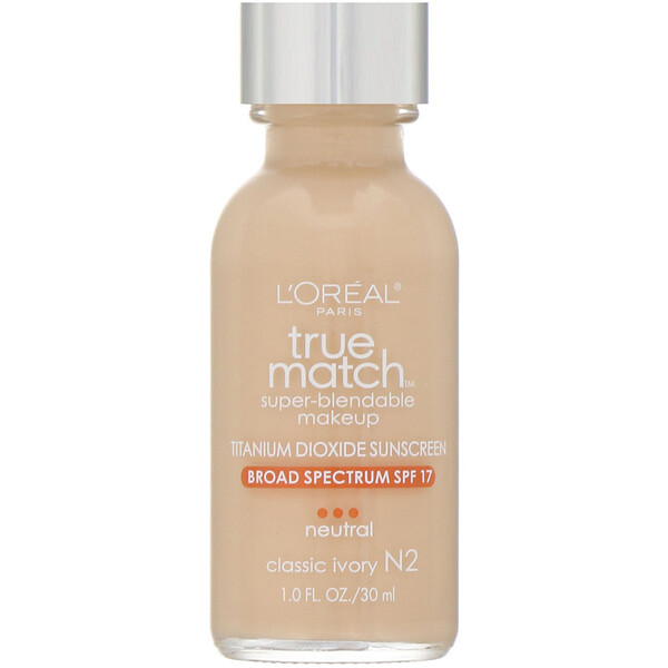 L'Oreal, True Match Super-Blendable Makeup, N2 Classic Ivory, 1 fl oz (30 ml)