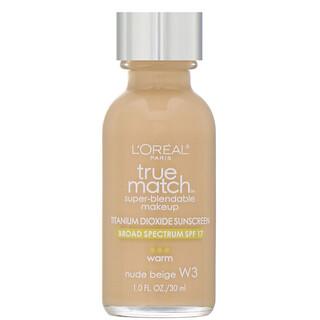 L'Oreal, True Match Super-Blendable Makeup, W3 Nude Beige, 1 fl oz (30 ml)