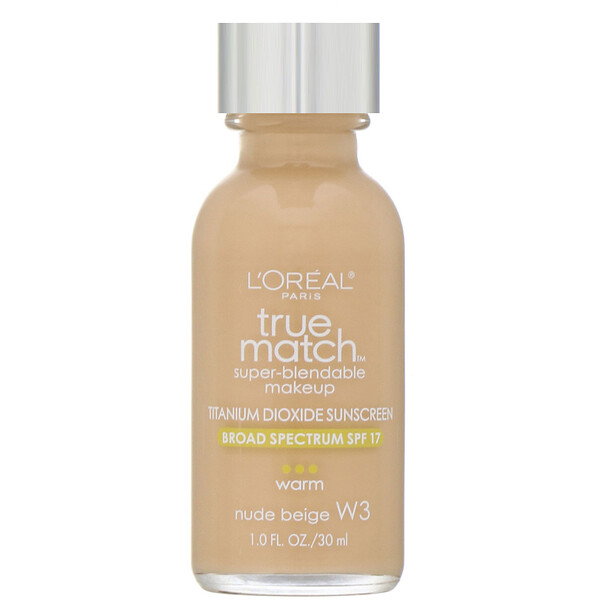 L'Oreal, True Match Super-Blendable Makeup, W3 Nude Beige, 1 fl oz (30 ml)