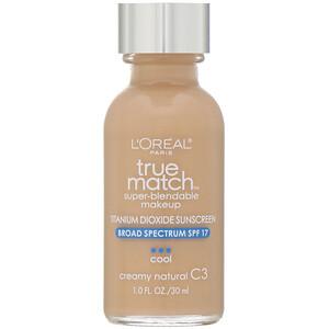 L'Oreal, True Match Super-Blendable Makeup, C3 Creamy Natural, 1 fl oz (30 ml) отзывы покупателей