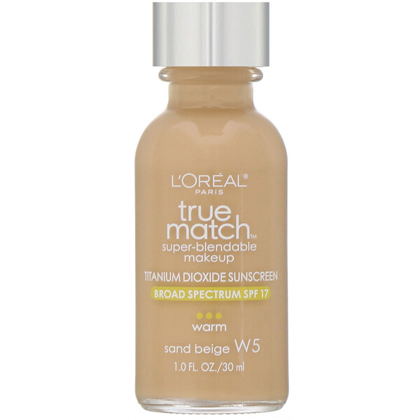 True Match Super-Blendable Makeup, W5 Sand Beige, 1 fl oz (30 ml)