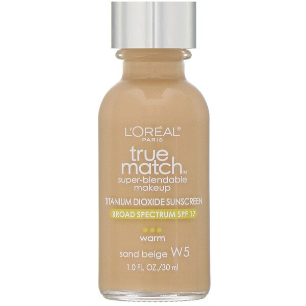 L'Oreal, True Match Super-Blendable Makeup, W5 Sand Beige, 1 fl oz (30 ml)
