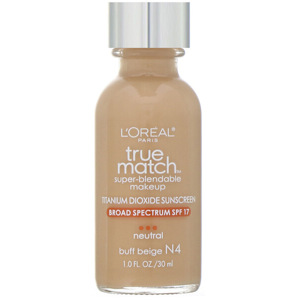 "L'Oreal, True Match Super-Blendable Makeup, גוון N4 Buff Beige, 30 מ""ל (1 אונקיית נוזל)"