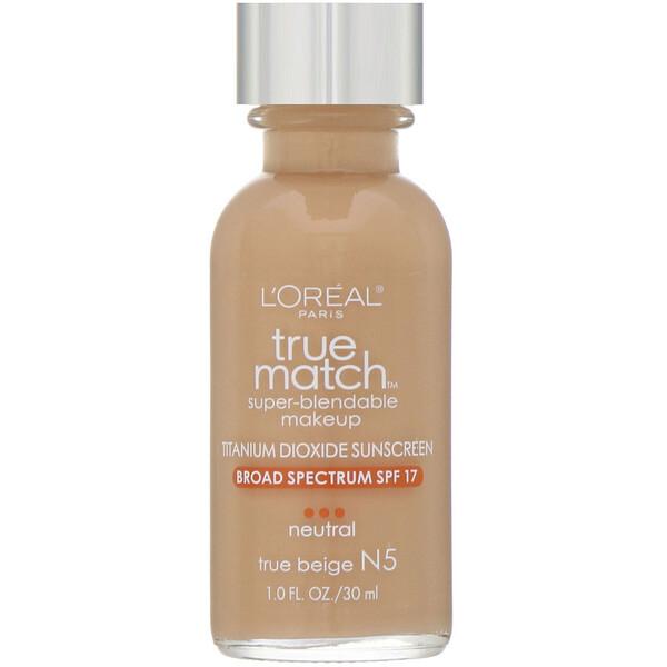 True Match Super-Blendable Makeup, N5 True Beige , 1 fl oz (30 ml)