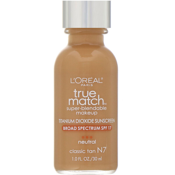 L'Oreal, True Match Super-Blendable Makeup, N7 Classic Tan, 1 fl oz (30 ml) (Discontinued Item)