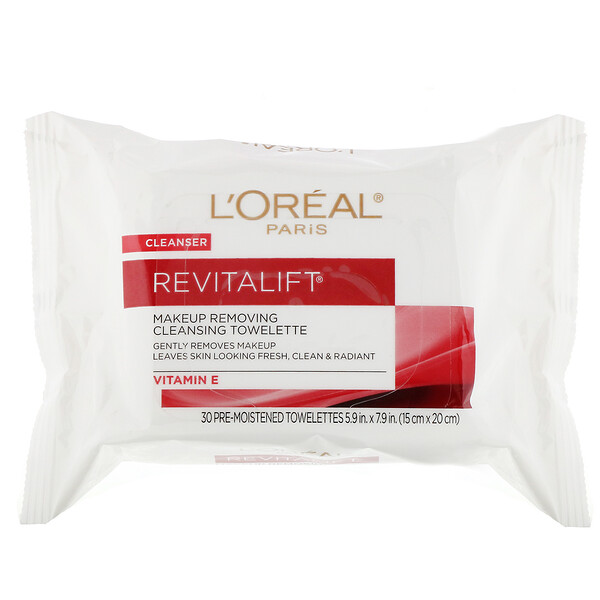 Revitalift Makeup Removing Cleansing Towelettes, 30 Pre-Moistened Towelettes