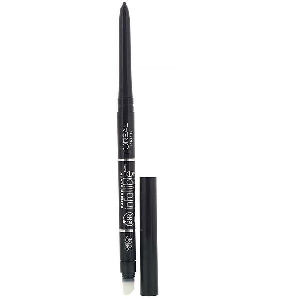 """L'Oreal, עיפרון עיניים מכני, 591 Carbon Black, שחור פחם, 240 מ""""ג (0.008 אונקיות)"""