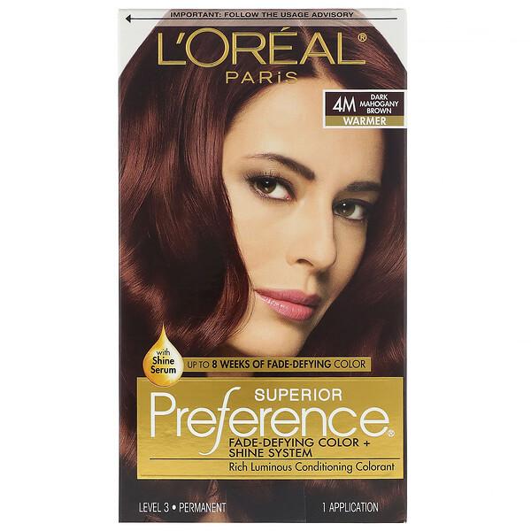 Superior Preference, Fade-Defying Color + Shine System,  Warm, 4M Dark Mahogany Brown, 1 Application