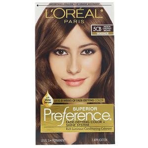 L'Oreal, Superior Preference, Fade-Defying Color + Shine System, Warmer, 5CB Medium Chestnut Brown, 1 Application отзывы