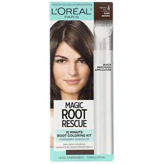 L'Oreal, Magic Root Rescue, 10 Minute Root Coloring Kit, 4 Dark Brown, 1 Application
