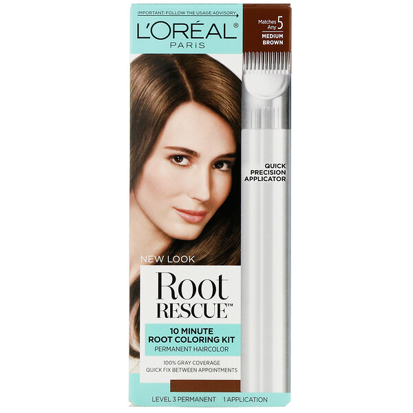 L'Oreal, Root Rescue, 10 Minute Root Coloring Kit, 5 Medium Brown, 1 Application