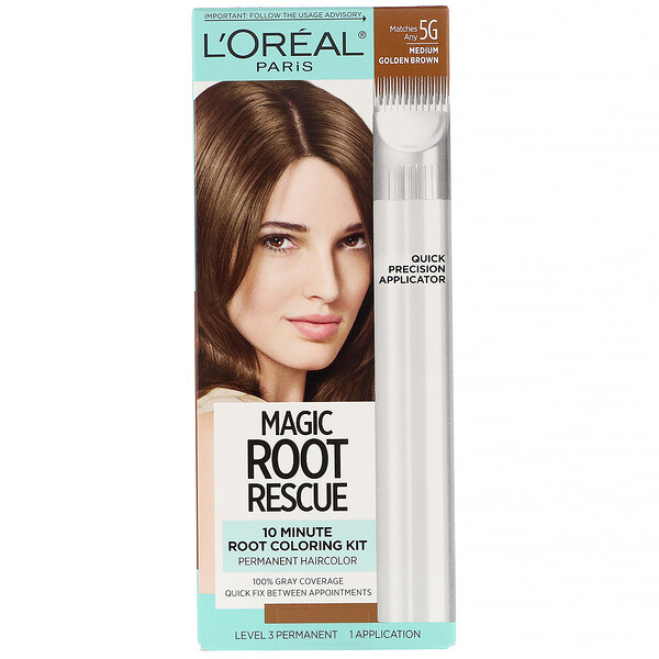 L'Oreal, Magic Root Rescue, 10 Minute Root Coloring Kit, 5G Medium Golden Brown, 1 Application
