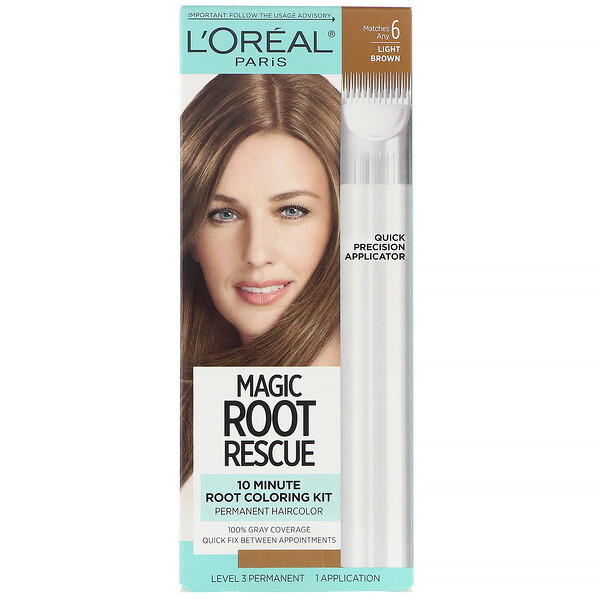 Magic Root Rescue, 10 Minute Root Coloring Kit,  6 Light Brown, 1 Application